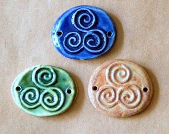 3 Handmade Ceramic Beads - Triskele Bracelet Links in Rustic Colors - Triple Spiral Celtic Connector Cuff Beads