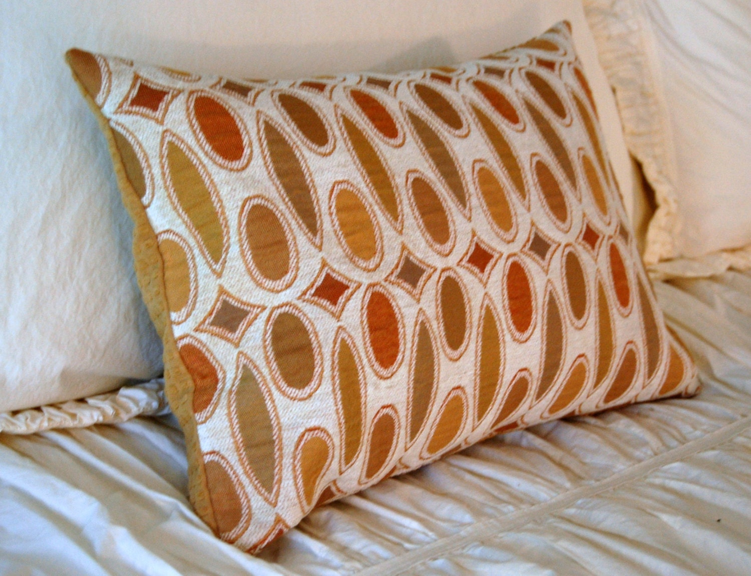 Modern Lumbar Pillows : Tasseau Cushion / modern lumbar pillow / yellow ochre pillow