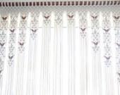 Beaded Arch Macrame  Window Door or Wall Decor With Tie-Backs