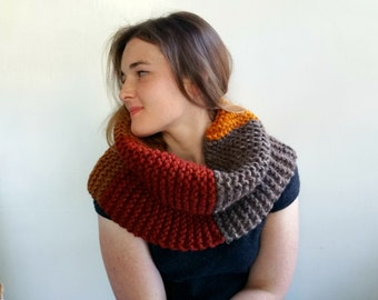 Color Block Chunky Cowl in Rust, Mustard, and Brown. Cowl or Capelet.