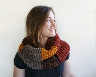 Color Block Chunky Cowl in Gold, Caramel, Brown, Rust, and Taupe. Warm Handknit Accessory.