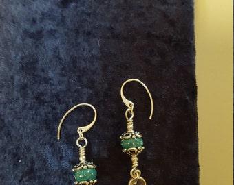 Sterling Silver Lampwork Earrings with Quartz Charm Dangles