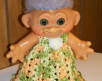 Dress in Variegated Greens and Gold -6.5 Inch TROLL OUTFIT