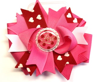 Boutique Valentine's Day Bottle Cap Hair Bow Clip
