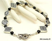 Celtic Bracelet  Irish Bracelet Celtic Knot Jewelry Obsidian Irish Bracelet ~  B0808-06B