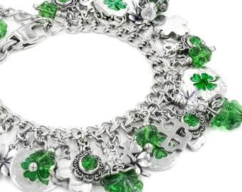 Shamrock Bracelet - Irish Bracelet - Four Leaf Clover - Irish Jewelry - Celtic Jewelry - Lucky Jewelry - Celtic Bracelet - St. Patricks Day