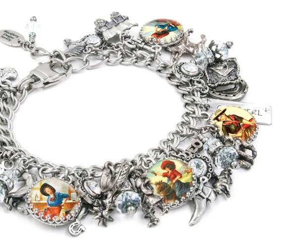 Western Charm Bracelet, Cowgirl Jewelry, Horse Jewelry, Western Jewelry, Horse Charm Bracelet, Cowgirl Charm Bracelet, Cowboy Jewelry