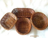 4 Baskets made of straw- for children play, crafts, nature table, home decoration and supplies