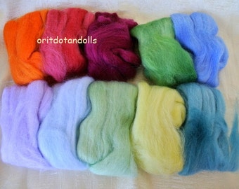 Merino wool hand painted hand dyed with eco colors merino wool 10 colors 2.6oz/ 75g