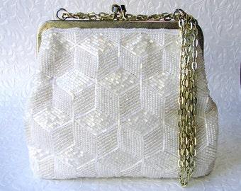 Elegant Silk White Vintage Beaded Purse Geometric Bead Pattern Formal Evening Bag Wedding Handbag Bridal Gold Frame Hand Made Hong Kong