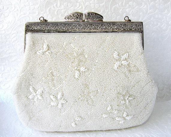 Vintage White Beaded Purse Dainty Flower Pattern Wedding Handbag Ornate Silver Frame Bead Strap Formal Evening Bag Handmade Japan   Tokyo