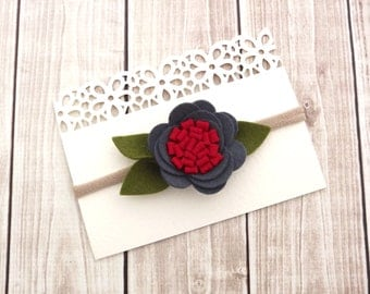 Charcoal Headband/Felt Flower Headband/Baby Headband, Newborn Headband, Infant Headband, Toddler Headband