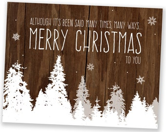 Christmas Cards / Holiday Cards - Many Times Many Ways Trees - Reclaimed Wood Rustic Holiday Cards - Set of 8