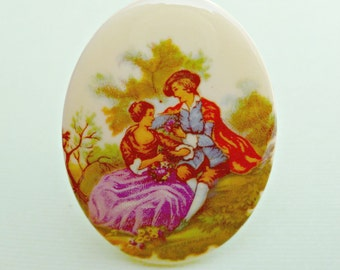 Vintage German 40x30mm Acrylic Courting Couple Cabochon (23-3F-1)