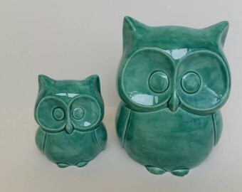 Owl Ceramic Bank Home Decor Aqua In Stock Ready To Ship in Aqua as Shown Mini Owl Gift with purchase