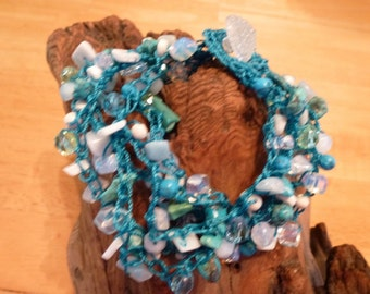 Turquoise Seas Bead Crochet Bracelet - a Handmade multi strand Bracelet with Variety of Beads