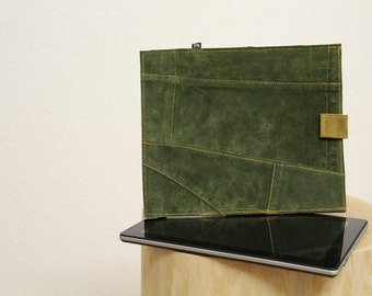 Green Leather iPad Case - iPad Cover - Sleeve for iPad 1 -  iPad 2 - iPad 3 - iPad 4 - iPad 5 - Bavarian Lederhosen - Recycled Leather Cover