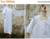 SUMMER SALES Vintage Antique French 1900  /1920 white thin cotton embroidered dress /underdress /nightgown size M/L
