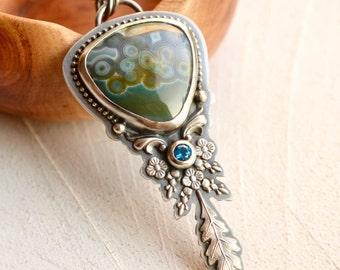 Ocean Jasper Necklace, Blue Topaz Necklace, Unique Metalwork, Artisan Jewelry, Boho Chic Jewelry, 925 Silver Pendant, Metalsmith Jewelry