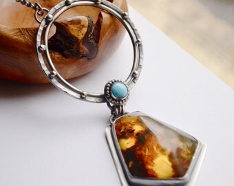 Amber Statement Necklace,  Eye Catching Handmade Jewelry, Boho Style Jewelry, Metalsmith Necklace