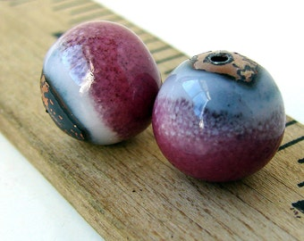 Rustic Pink Enamel Round Copper Beads