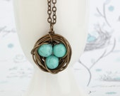 Turquoise Bird Nest Necklace, Wire Wrapped With Turquoise Beads, Wonderful Gift for Mom, Grandmother, Gift For Mother, Gift For Woman