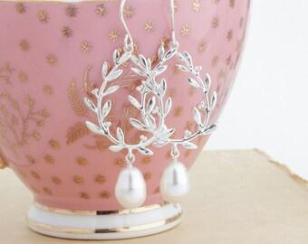 Pearl Dangle Earrings, Pearl Earrings, Silver Earrings, Wedding Earrings, Bridesmaid Earrings, Dangle Earrings, Gift For Woman, Gift For Her