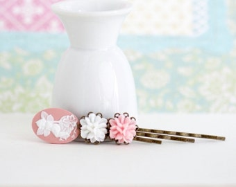 Hair Pins, Pink and White Bobby Pins Antique Brass With Fairy Cameo, Floral Accessories, Pink Hair Accessories, Gift For Woman