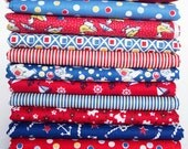 1930's Reproduction Fabric Bundle Red and Blue Fat Quarters