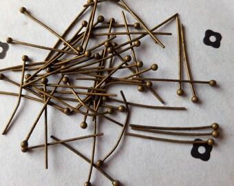 20mm Antiqued Bronze Ball Head pins (50)