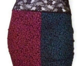 High Waist Fuchsia Teal Hot Two Tone Leopard Pencil Skirt Rockabilly Psychobilly Punk Harley Quinn Sale