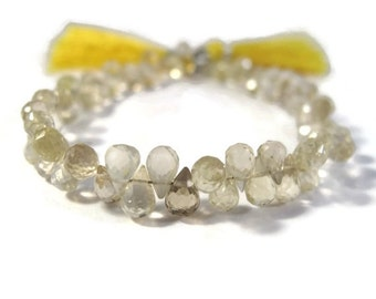 HOT SALE - Two Lemon Quartz Beads, Yellow Natural Gemstone Briolettes, AAA Quality Concave Cut Matched Pair, Two (2) Gorgeous 13mm Stones (B