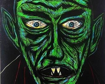 Nosferatu Color woodcut