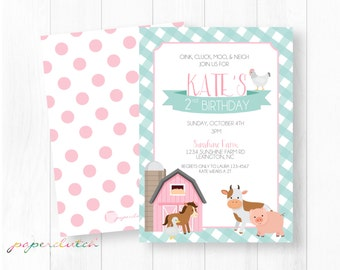 Pink Barn Farm Birthday Invitation Barnyard Invitation Farm Animals Old McDonald Girl Birthday Gingham Pink and Blue Digital or Printed