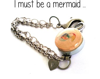Mermaid Jewelry, Mermaid Bracelet, Mermaid Art Bracelet, Handmade Artisan Bracelet, Chain Bracelet, Stamped Initial Charm, Any Length