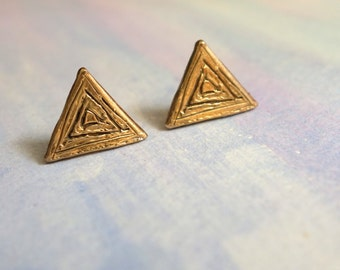 Carved Triangle Studs