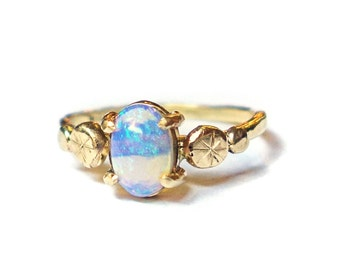 14k Gold and Opal Handmade Pebble Ring - Recycled Gold One of a Kind RIng