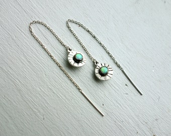 Sterling Silver and Opal Double Sided Ear Threads