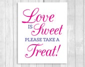 Printable Love is Sweet Take A Treat Wedding or Bridal Shower Candy Buffet Sign - Navy Blue and Hot Pink or Fuschia - Instant Download