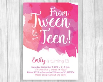 Custom Printable 5x7 Tween To Teen Girl's 13th Thirteen Birthday Party Invitation - Hot Pink Fuschia Watercolor - Digital Download