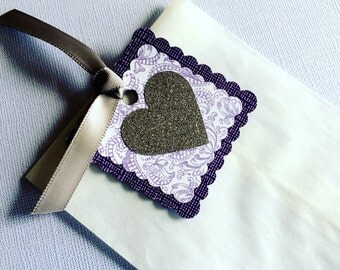 CLEARANCE 25 White Glassine Paper Favor Bags with Purple Floral and Glittery Silver Heart Tags - Perfect for Bridal Shower or Birthday Party