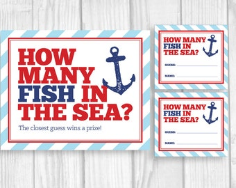 Guess How Many Fish in the Sea Printable Nautical Anchor Boy's Baby Shower Game Sign and Cards in Blue, Red and Navy Blue - Instant Download