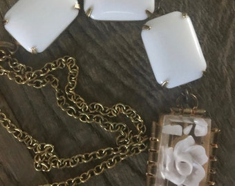 Vintage repurposed one of a kind lucite rose flower pendant and white glass connector necklace