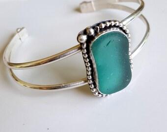 Teal Sea Glass Cuff Bracelet Turquoise Sea Glass Bracelet Teal English Sea Glass Jewelry Beach Glass Jewelry B-225