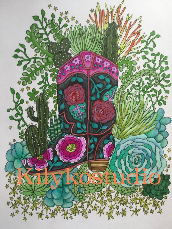 Succulent Garden Amp Cowboy Boot Adult Coloring Page Instant