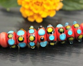 Reserved for Cubajul Set of Artisan Handmade Lampwork Glass Beads Coral Turquoise Black Mustard