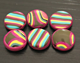 Bright and Happy Set Of Smooth Coin Shaped Polymer Clay Beads in Lemon Fuchsia Turquoise and Khaki Green Jewelry Beading Supplies Artisan