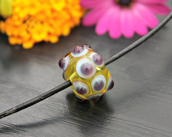 Handmade Artisan Lampwork Glass Focal Bead Yellow and Purple