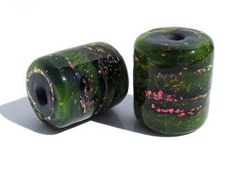 Handmade Lampwork Glass Tube Bead Pair Dichroic Yellow Green Magenta Sparkle