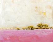 "Landscape Print Archival Giclee Print Pink Wall Art 8x8 10x10 ""Pink Field"""